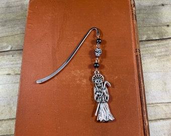 Hematite Santa Muerte bookmark, nuestra senora de la Santa Muerte, holy death, santisima muerte bookmark, sacred death bookmark