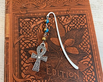 Blue gold and silver ankh bookmark, wiccan bookmark, pagan bookmark, egyptian bookmark, witch bookmark, historic bookmark