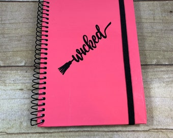 Pink and black glitter wicked broom journal, wicked witch, pagan journal, wiccan journal, witch journal, book of shadows, occult journal