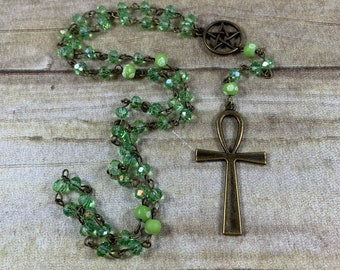 Green sparkle brass ankh pagan rosary, pagan prayer beads, wiccan rosary, wiccan prayer beads, occult rosary, witch prayer beads