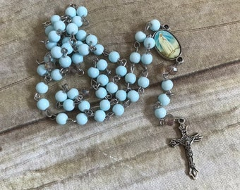 Pale blue and tan catholic rosary, catholic rosary beads, baptism gift, first communion gift, prayer beads, religious jewelry