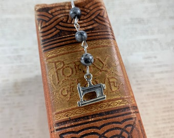 Stone sewing machine bookmark, seamstress bookmark, treadle bookmark, sewing bookmark, vintage inspired bookmark, tailor bookmark