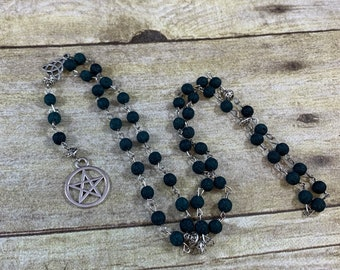 Dark blue green lava rock pagan prayer beads, pagan rosary, wiccan rosary, wiccan prayer beads, pentacle rosary, occult rosary, witch rosary