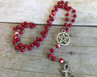 Red glass and howlite ankh rosary, pagan prayer beads, pagan rosary, egyptian inspired, ankh jewelry, wiccan necklace