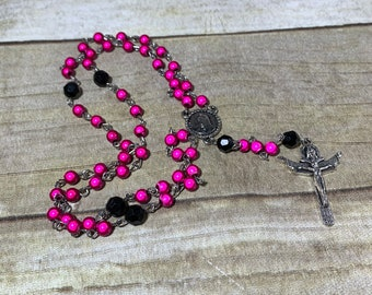 Hot pink and black mirrored rosary, catholic rosary, acrylic rosary, neon rosary, unique rosary, baptism gift, first communion gift