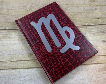 Red and metallic silver Virgo journal, horoscope journal, astrology journal, star sign journal, pagan journal, witch journal, esoteric