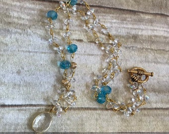 Clear blue and gold crystal drop necklace, glass beaded necklace, something blue, stocking stuffer, glass jewelry