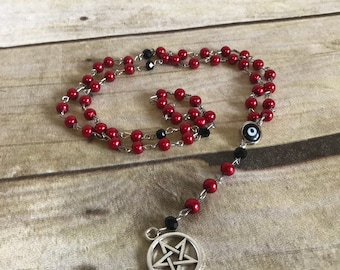 Red faux pearl nazar rosary, pentacle jewelry, pagan prayer beads, wiccan necklace, occult gift, handmade, one of a kind