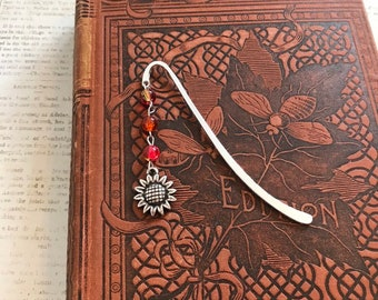 Red and orange sunflower bookmark, floral bookmark, garden bookmark, summer bookmark, fall bookmark, metal bookmark