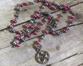 Pink and grey pentacle rosary, pentacle prayer beads, wiccan rosary, occult jewelry, pagan prayer beads, wiccan prayer beads