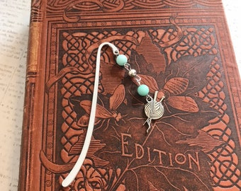 Mint and silver yarn bookmark, knitting bookmark, crafting bookmark, metal bookmark, handmade bookmark, beaded bookmark