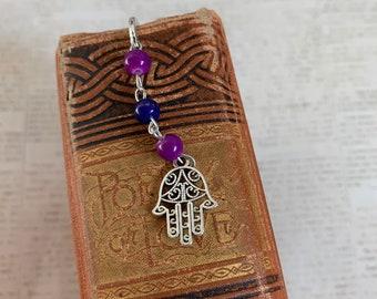 Two toned purple hamsa bookmark, hamsa gift, hand of Fatima bookmark, hand of Mary bookmark, amulet bookmark, pagan bookmark