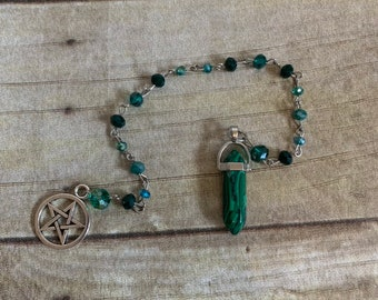 Malachite and glass pendulum, stone pendulum, crystal pendulum, occult pendulum, metaphysical tools, pentacle pendulum