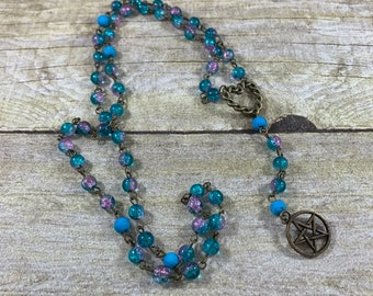 Blue and pink crackle glass pagan rosary, pagan prayer beads, occult rosary, wiccan prayer beads, witch prayer beads, witch rosary, wiccan