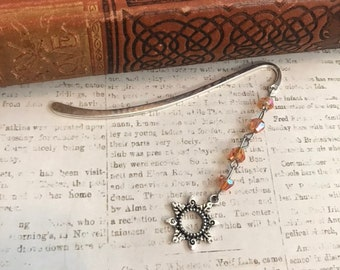 Orange glass sun bookmark, solar bookmark, celestial bookmark, handmade bookmark