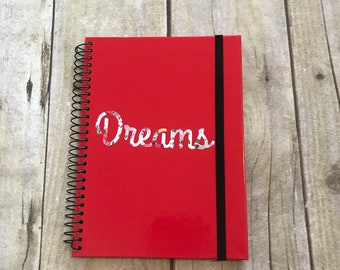 Red dream journal, lined notebook, dream notebook, banded notebook, pagan notebook