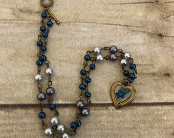 Blue and grey flower heart necklace, vintage inspired jewelry, floral necklace, anniversary gift