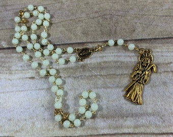 Gold glow in the dark Santa Muerte rosary, nuestra senora de la Santa Muerte, santisima muerte, holy death, sacred death, saintly death