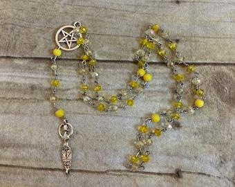 Yellow goddess pagan rosary, pagan prayer beads, wiccan rosary, witch's rosary, goddess prayer beads, wiccan prayer beads, pagan prayer bead