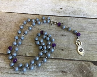 Grey shimmer spiral goddess rosary, wiccan jewelry, wiccan necklace, pagan jewelry, pagan prayer beads, goddess prayer beads, pagan rosary