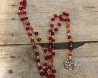 Red and orange tree of life rosary, tree of life prayer beads, wiccan rosary, wiccan necklace, pagan rosary, pagan prayer beads