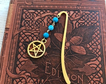 Blue frosted mountain jade pentacle bookmark, stone bookmark, witch bookmark, occult bookmark, wiccan bookmark