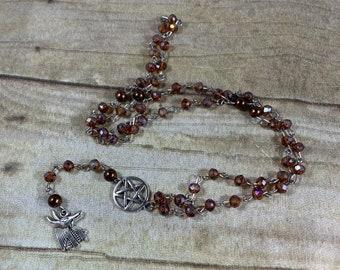 Brown sparkle Anubis pagan rosary, pagan prayer beads, witch rosary, witch prayer beads, wiccan rosary, wiccan prayer beads, occult rosary