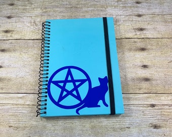 Two tone blue cat pentacle journal, pagan journal, witch journal, witchy journal, wiccan journal, occult journal, book of shadows, grimoire