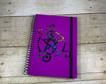 Purple space pentacle swirl journal, galaxy journal, pagan journal, book of shadows, wiccan journal, witch journal, banded journal