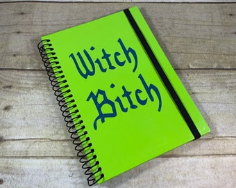 Green and blue witch bitch journal, pagan journal, wiccan journal, occult journal, banded journal, book of shadows, witch grimoire