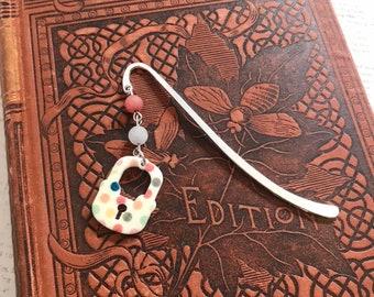 Polka dot lock bookmark, metal bookmark, modern bookmark, spotted bookmark, lock gift, bookworm bookmark