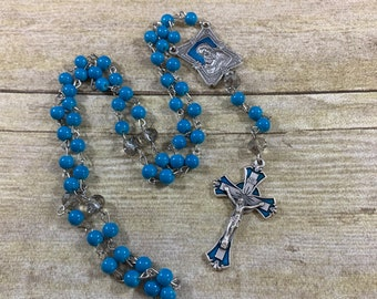 Blue enamel Madonna and child rosary, catholic rosary, glass rosary, Italian silver rosary, baptism gift, first communion gift, confirmation