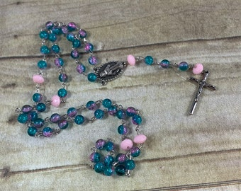 Blue and pink crackle glass rosary, Easter rosary, spring rosary, bright rosary, glass rosary, baptism gift, first communion gift