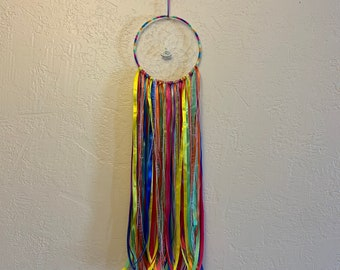 Neon rainbow alien dreamcatcher, alien decor, alien gift, alternative dreamcatcher, ribbon dreamcatcher, space dreamcatcher, space decor