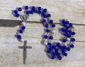 Blue and white sparkle catholic rosary, catholic jewelry, catholic prayer beads, baptism, first communion, handmade rosary