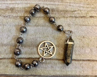 Pyrite pentacle pendulum, pagan pendulum, stone pendulum, beaded pendulum, occult pendulum, dowsing pendulum, wiccan pendulum