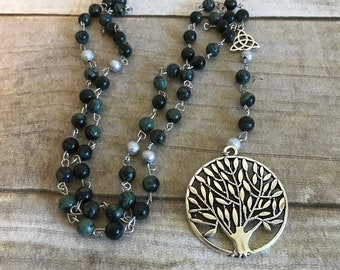 Kambaba jasper tree of life rosary, tree of life jewelry, pagan altar, pagan rosary, pagan prayer beads, wiccan necklace