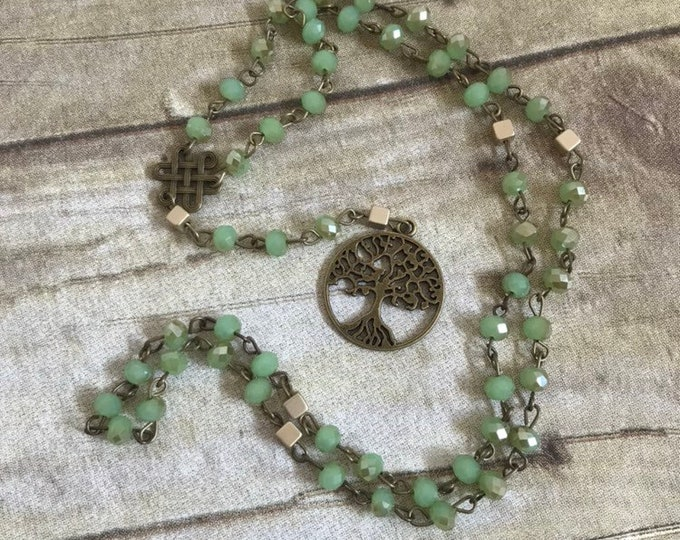 Featured listing image: Green gold and brass tree of life pagan rosary, pagan prayer beads, celtic paganism, wiccan prayer beads, witch meditation beads,