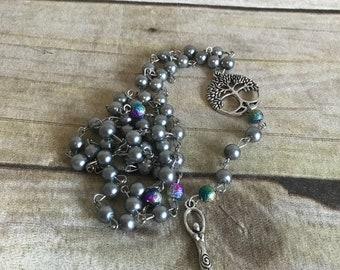 Grey spiral goddess tree of life rosary, pagan rosary, pagan prayer beads, wiccan rosary, goddess jewelry, pagan necklace