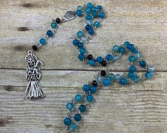 Blue banded agate Santa Muerte rosary, Santisima muerte, holy death rosary, sacred death rosary, nuestra senora de la Santa Muerte