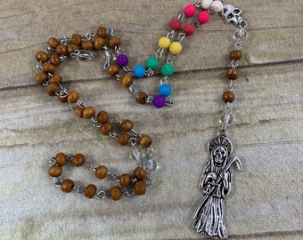 Wood and lava rock seven power color Santa muerte rosary, holy death rosary, sacred death rosary, nuestra senora de la Santa Muerte