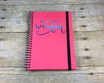 Pink space witchy woman journal, witch journal, Halloween journal, pagan journal, wiccan journal, occult journal, book of shadows