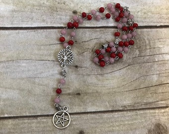 Pink and red pagan pentacle rosary, pagan prayer beads, wiccan jewelry, occult rosary, pentacle necklace, wiccan rosary