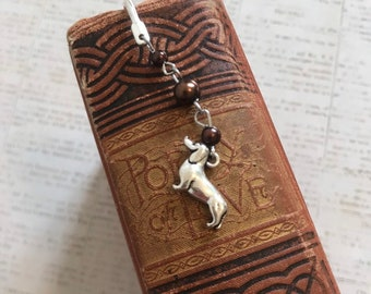 Brown and silver dog bookmark, weiner dog bookmark, puppy bookmark, pet bookmark, doxie bookmark, dachshund bookmark
