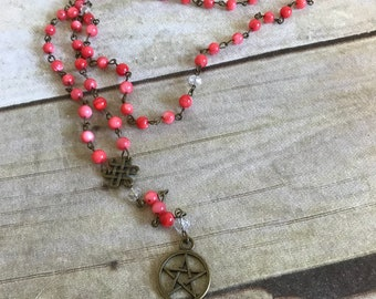 Pink shell pentacle rosary, pagan prayer beads, pentacle jewelry, occult necklace, wiccan jewelry, wiccan rosary, pagan necklace