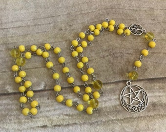 Yellow celtic pentacle pagan rosary, pagan prayer beads, pentacle jewelry, wiccan prayer beads, celtic paganism, witch jewelry