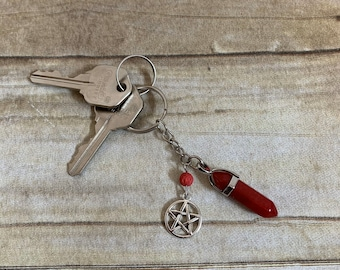 Red agate pentacle keychain, occult keychain, pagan keychain, metaphysical keychain, wiccan keychain, crystal keychain, oil keychain