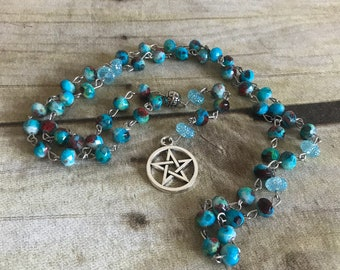 Marbled blue pagan rosary, pentacle necklace, wiccan jewelry, handmade, one of a kind, occult gift, pagan necklace