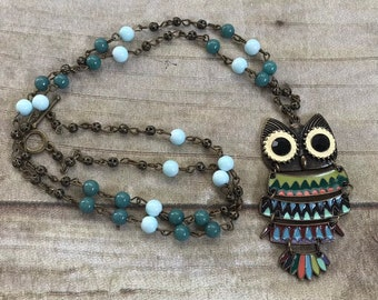 Long colorful mountian jade owl statement necklace, blue and green owl necklace, antiqued brass owl necklace