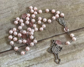 Pale pink catholic rosary, two toned pink rosary, silver toned rosary, glass pearl rosary, handmade rosary, one of a kind rosary